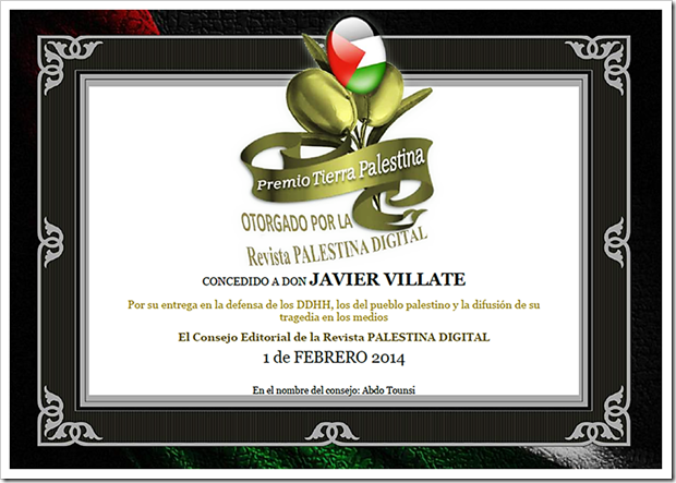 Certificado del premio Tierra Palestina