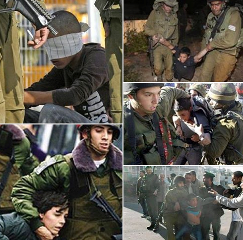 Maltrato muy cruel contra los niños palestinos por parte del ejército sionista
