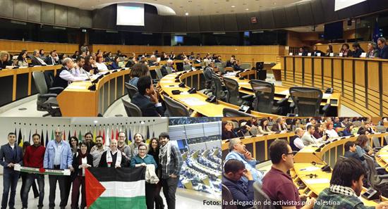 Activistas pro Palestina en Bruselas